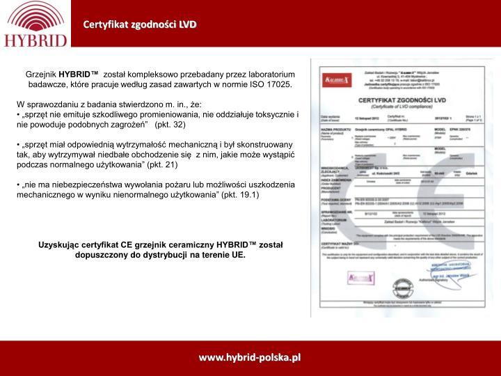 Certyfikat zgodności LVD