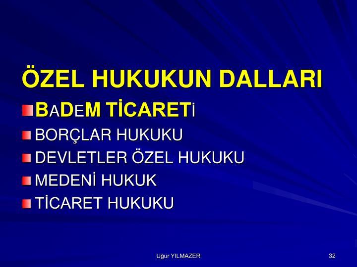 ÖZEL HUKUKUN DALLARI