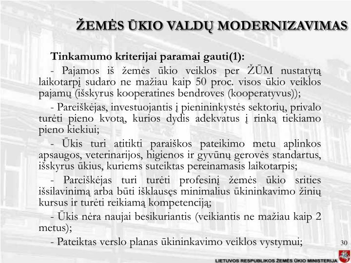 ŽEMĖS ŪKIO VALDŲ MODERNIZAVIMAS
