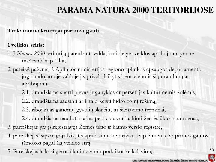PARAMA NATURA 2000 TERITORIJOSE