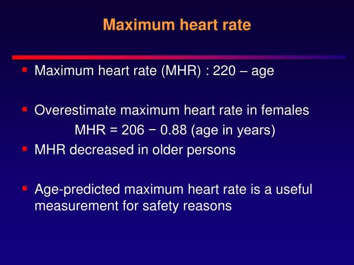 Maximum heart rate