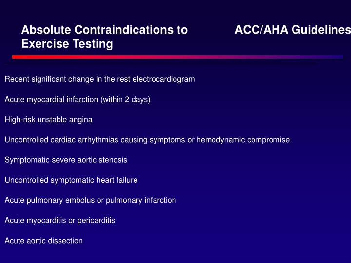 Absolute Contraindications to Exercise Testing