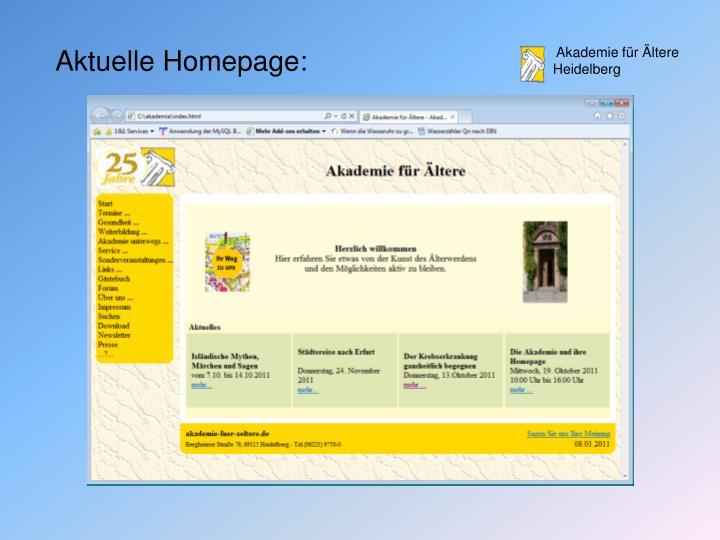 Aktuelle Homepage: