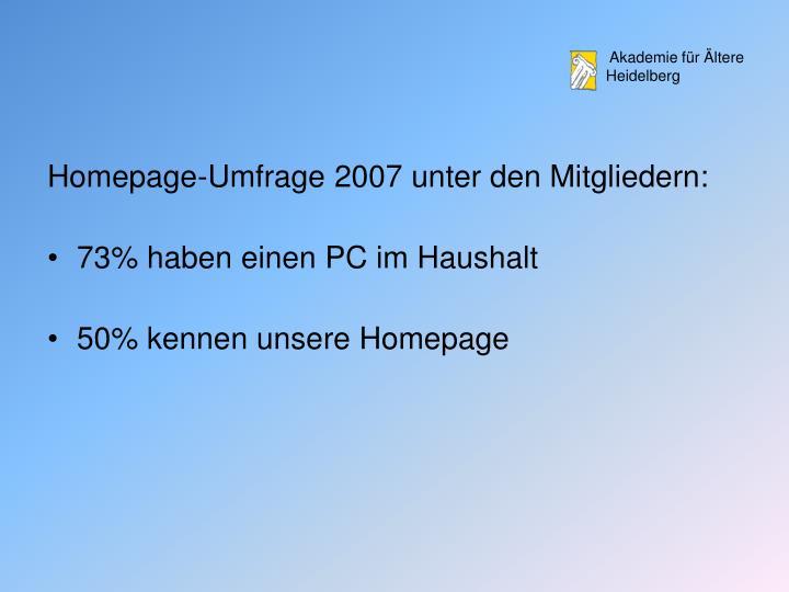 Homepage-Umfrage 2007 unter den Mitgliedern: