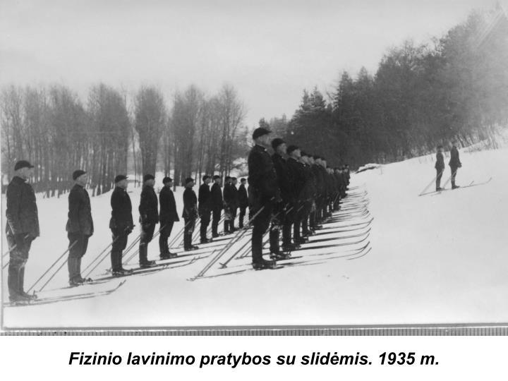 Fizinio lavinimo pratybos su slidėmis. 1935 m.
