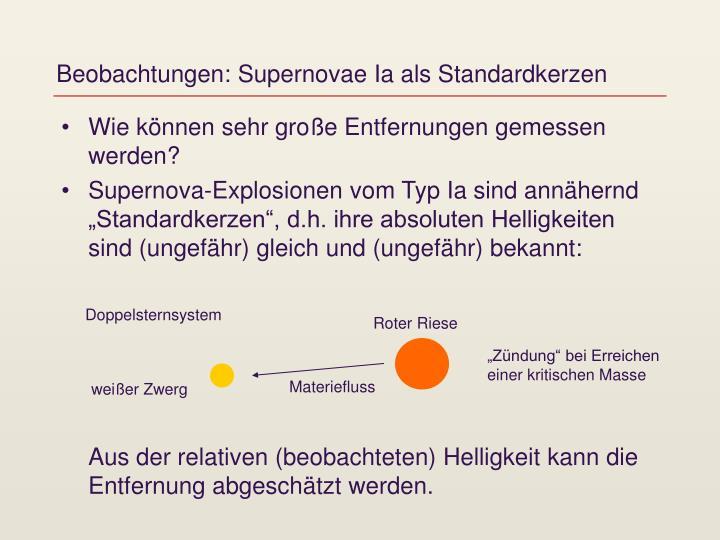 Beobachtungen: Supernovae Ia als Standardkerzen