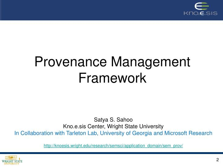 Provenance Management Framework