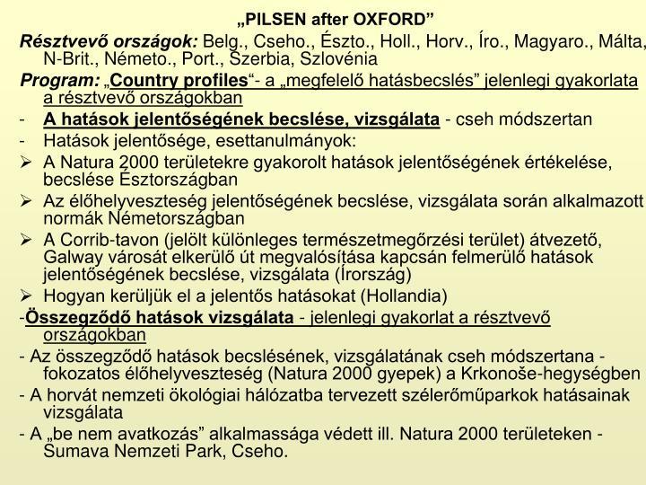 """PILSEN after OXFORD"""