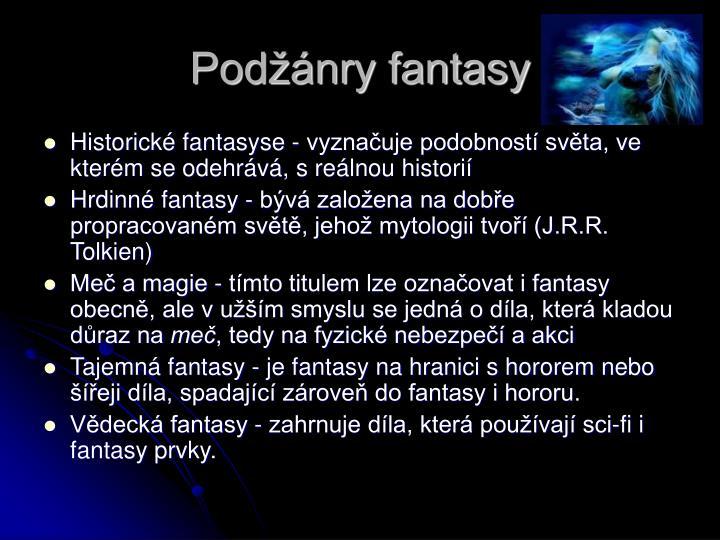 Podžánry fantasy