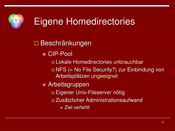 Eigene Homedirectories