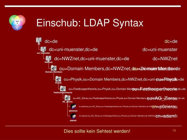 Einschub: LDAP Syntax