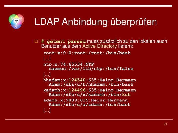 LDAP Anbindung überprüfen