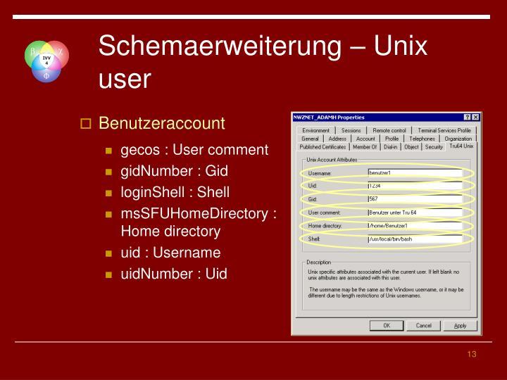 Schemaerweiterung – Unix user