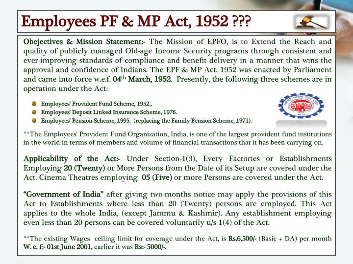 Employees PF & MP Act, 1952 ???
