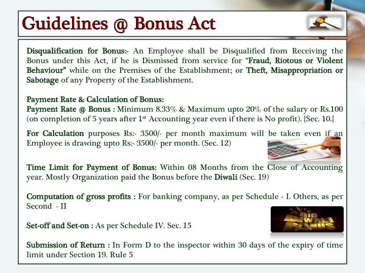 Guidelines @ Bonus Act