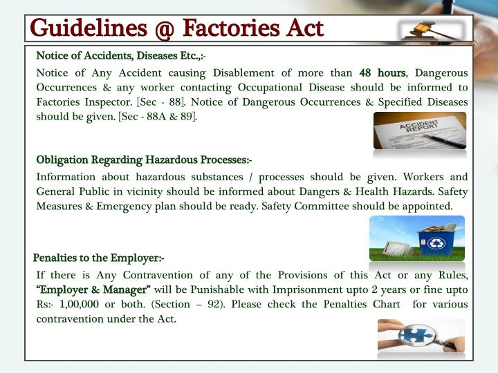 Guidelines @ Factories Act
