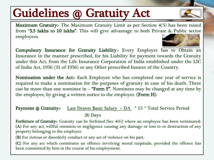 Guidelines @ Gratuity Act