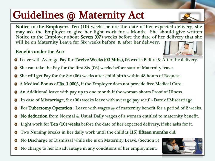 Guidelines @ Maternity Act