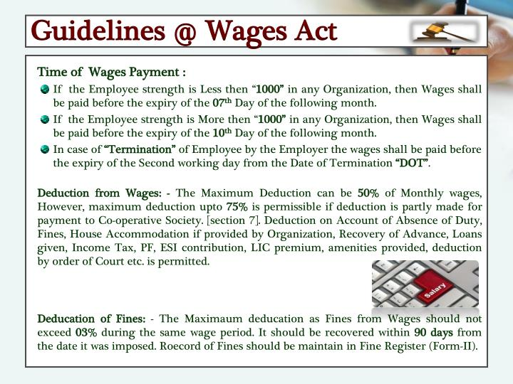 Guidelines @ Wages Act