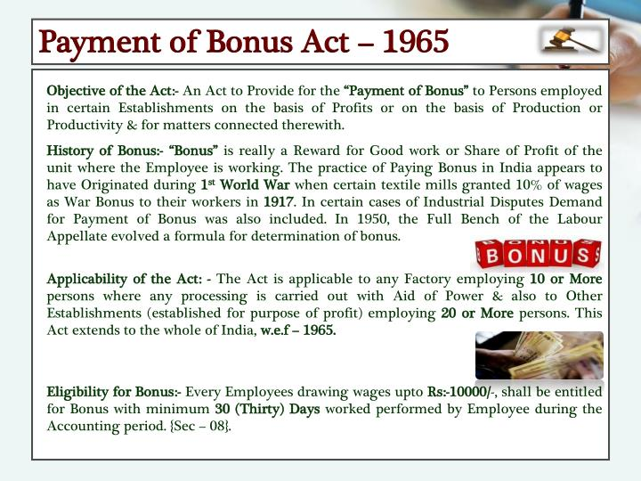 Payment of Bonus Act – 1965
