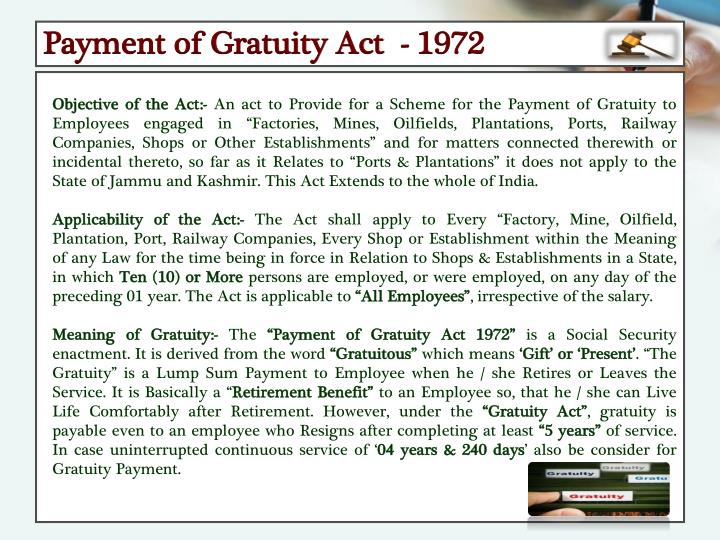 Payment of Gratuity Act  - 1972