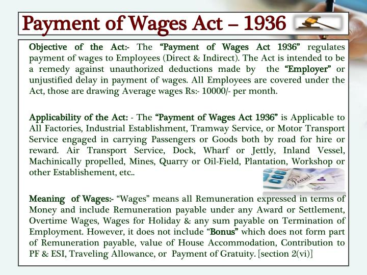 Payment of Wages Act – 1936