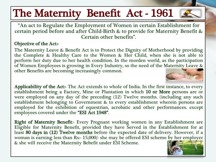 The Maternity  Benefit  Act - 1961