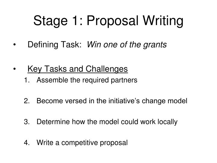 Stage 1: Proposal Writing