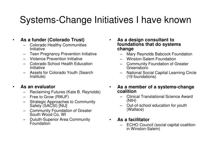 As a funder (Colorado Trust)
