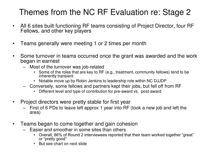 Themes from the NC RF Evaluation re: Stage 2