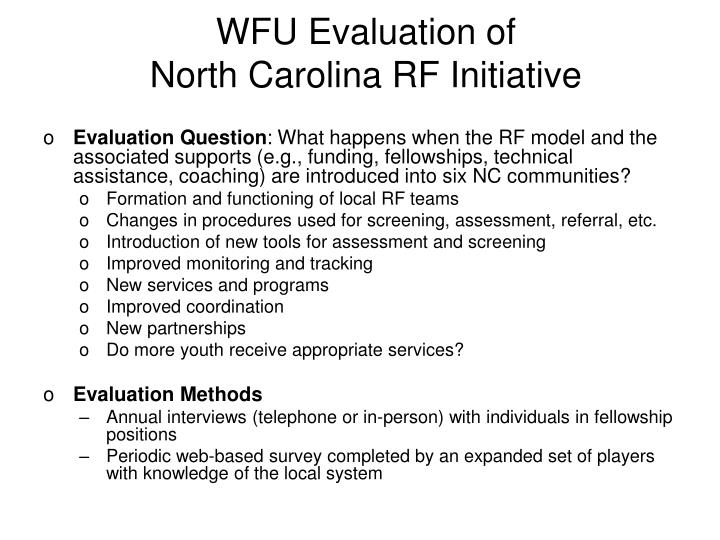WFU Evaluation of