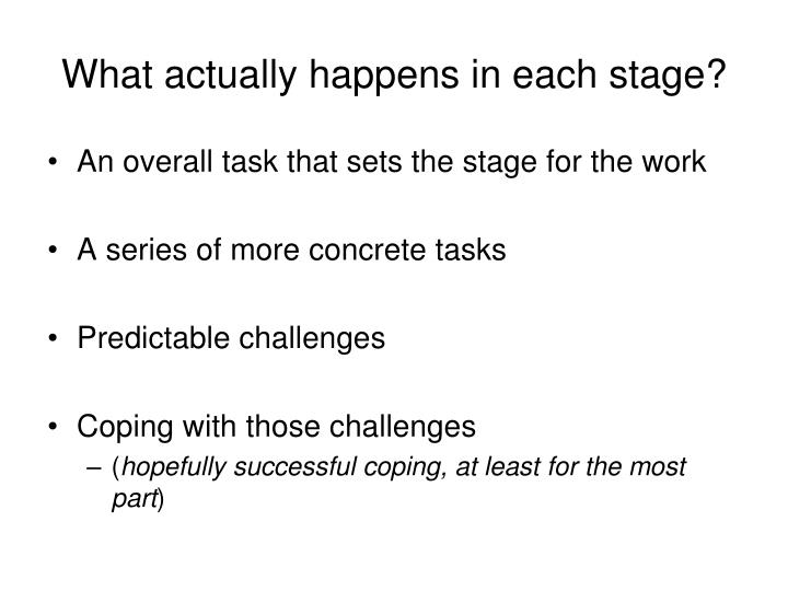 What actually happens in each stage?