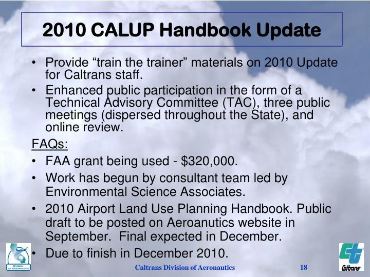 2010 CALUP Handbook Update