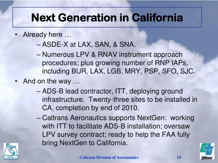 Next Generation in California