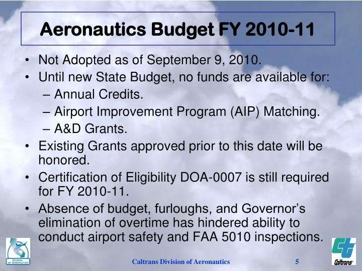 Aeronautics Budget FY 2010-11
