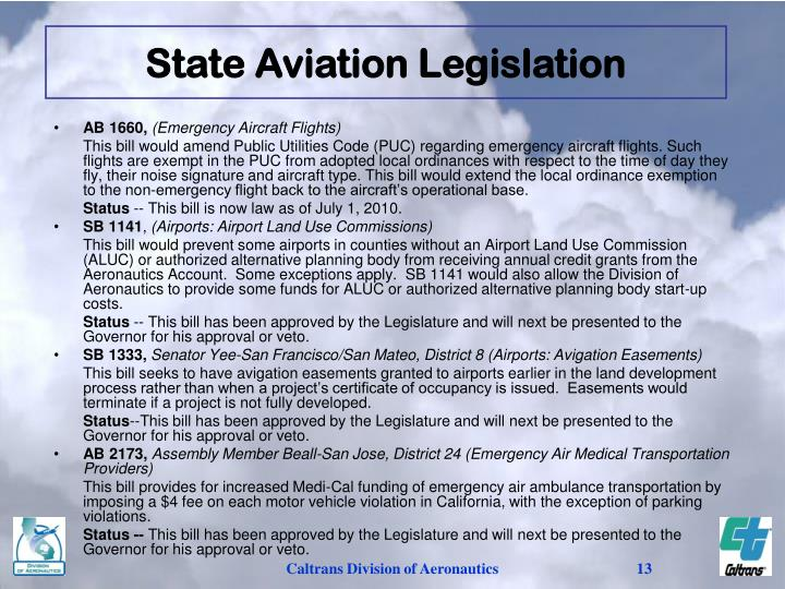 State Aviation Legislation