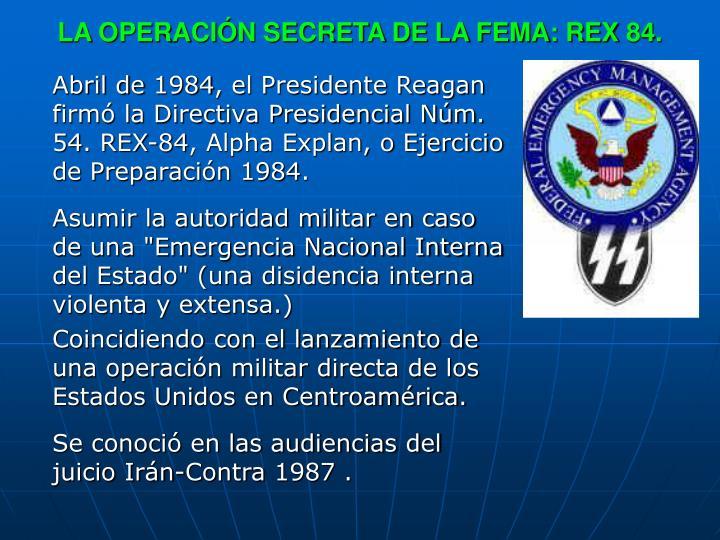 LA OPERACIÓN SECRETA DE LA FEMA: REX 84.