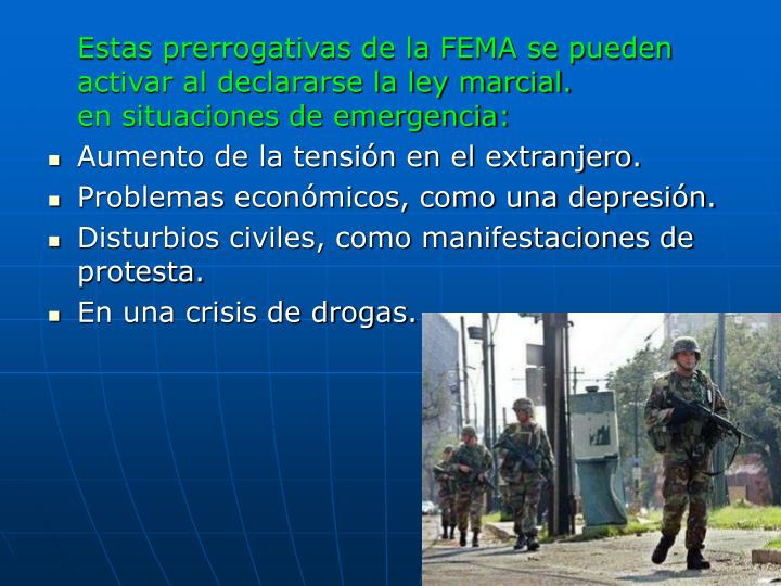 Estas prerrogativas de la FEMA se pueden activar al declararse la ley marcial.
