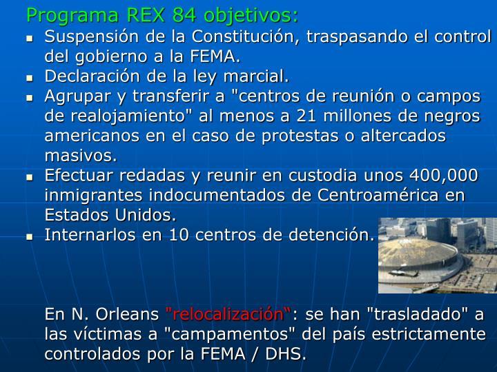 Programa REX 84 objetivos: