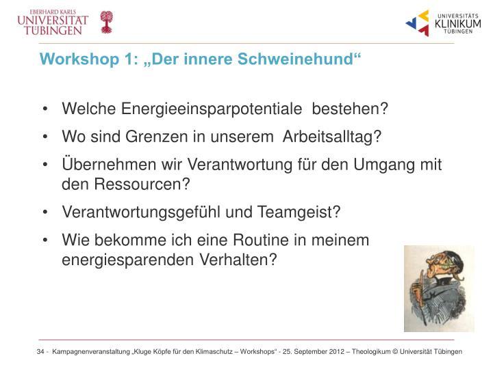 """Workshop 1: """"Der innere Schweinehund"""""""