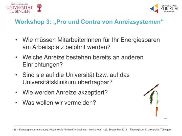 """Workshop 3: """"Pro und Contra von Anreizsystemen"""""""