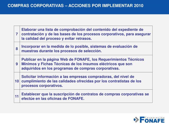 COMPRAS CORPORATIVAS – ACCIONES POR IMPLEMENTAR 2010