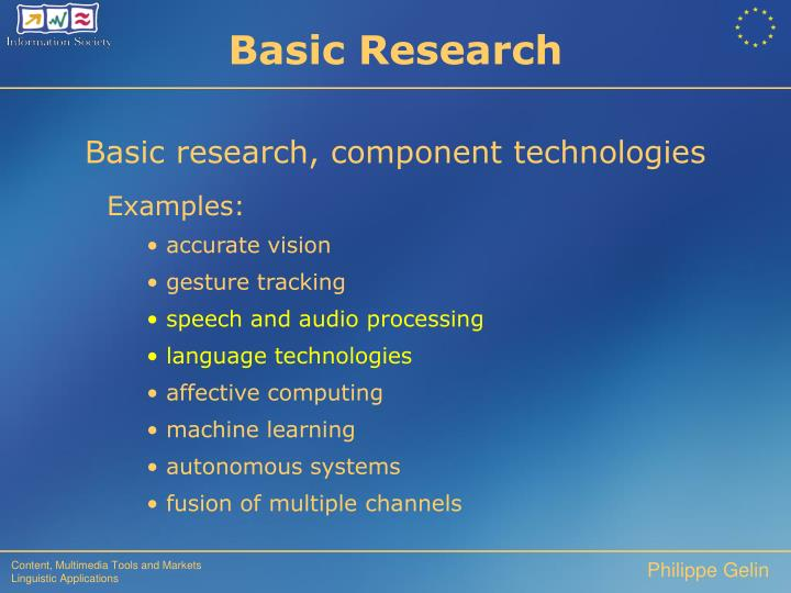 Basic research, component technologies