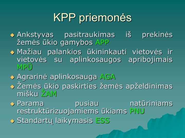 KPP priemonės
