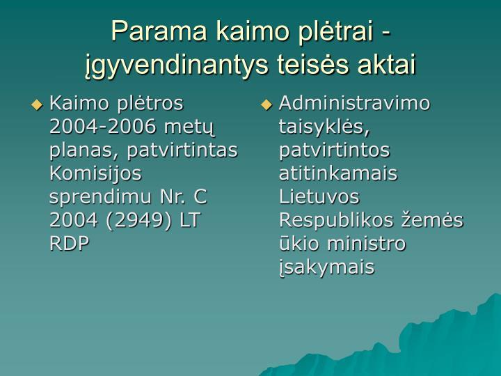 Kaimo plėtros 2004-2006 metų planas, patvirtintas Komisijos sprendimu Nr. C 2004 (2949) LT RDP