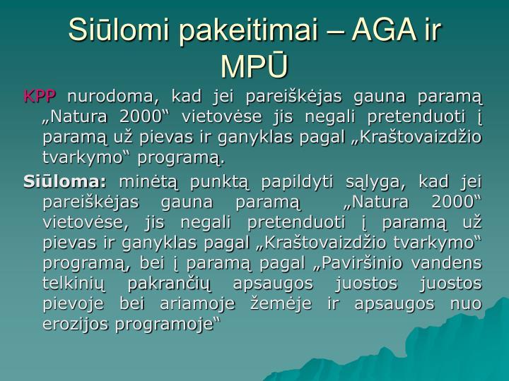 Siūlomi pakeitimai – AGA ir MPŪ