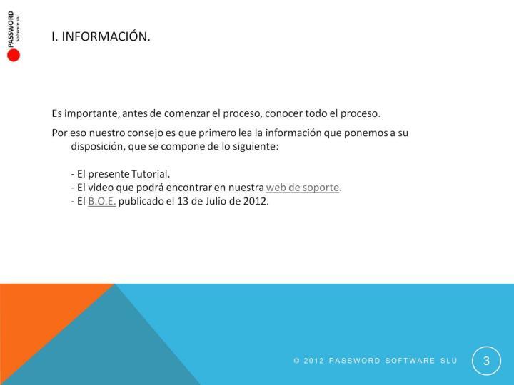 I. Información.
