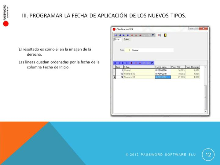 III. Programar la fecha de aplicación de los nuevos tipos.
