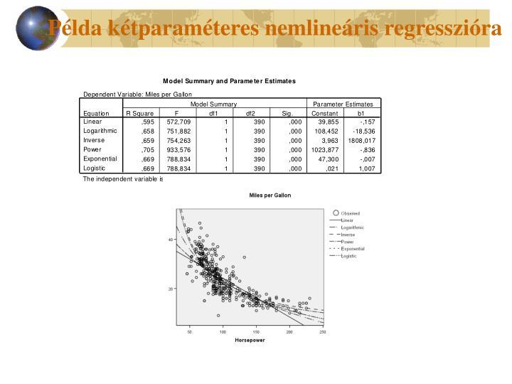 Példa kétparaméteres nemlineáris regresszióra