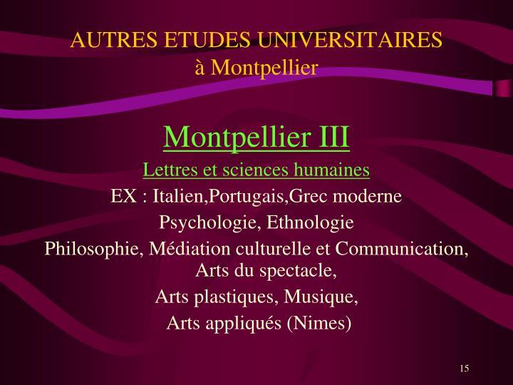 AUTRES ETUDES UNIVERSITAIRES